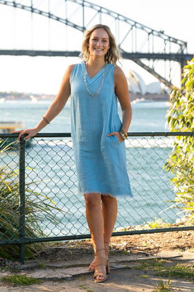 Lenni Linen Dress in Blue