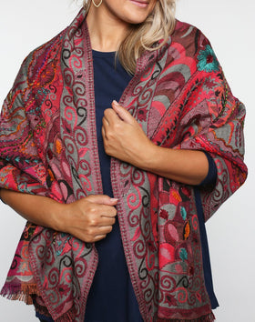 Lexington Shawl in Floral Stems
