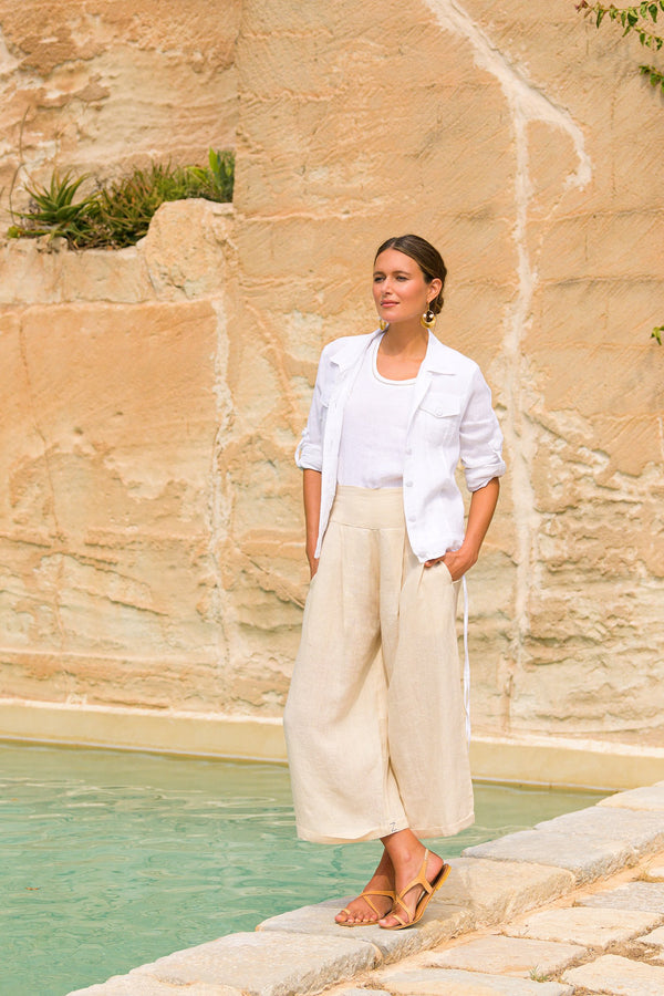 Lily Wide Leg Pant in Stone