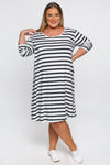Long Sleeve Swing Dress in French Stripe