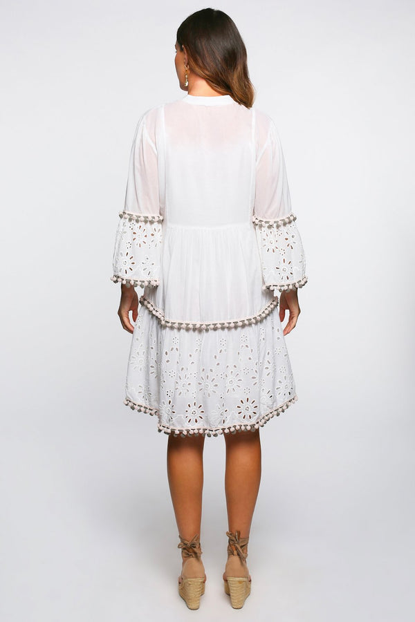 Lynette Embroidered Dress in White