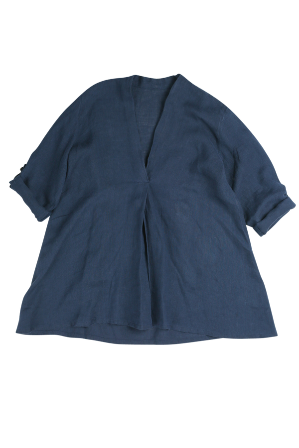 Macey Pleated Top in Navy