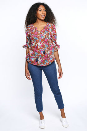 Maeve 3/4 Sleeve Top in Apple Blossom