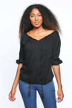 Maeve 3/4 Sleeve Shift Top in Black