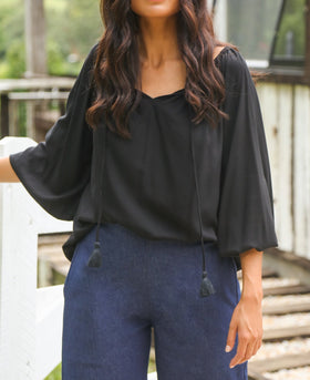 Maeve Billow Sleeve Top in Black
