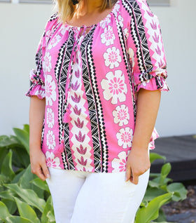 Maeve Shift Top in Ibiza Pink