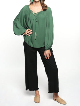 Maeve Billow Sleeve Top in Moss