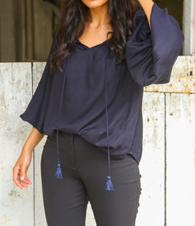 Maeve Billow Sleeve Top in Navy