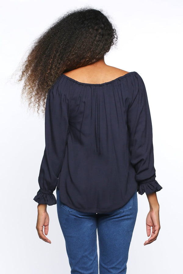 Maeve Sleeve Shift Top in Navy