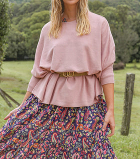 Mia Oversized Jumper in Blush Rose