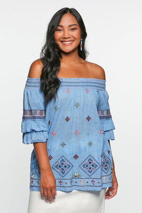 Monica Embroidered Top in Tulum