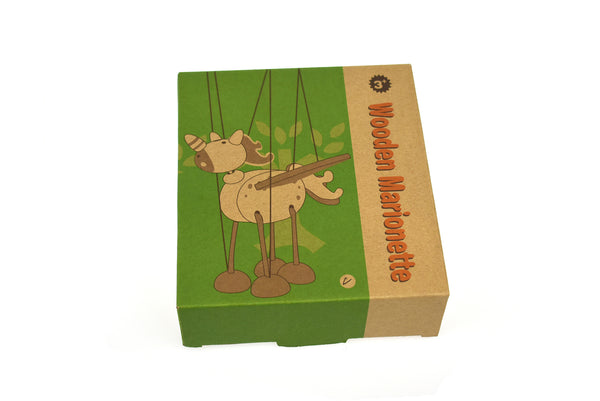 Wooden marionette unicorn