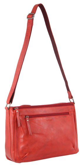 Milleni Ladies Nappa Leather Cross-Body Bag - Red