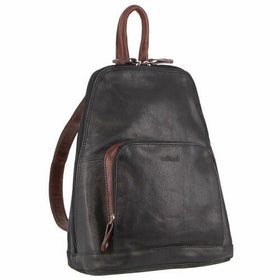 Milleni Ladies Leather Twin Zip Backpack - Black/Chestnut