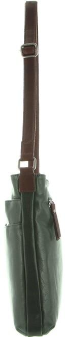 Milleni Ladies Nappa Leather Cross-Body Bag - Emerald/Chestnut