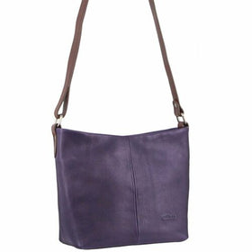 Milleni Ladies Nappa Leather Cross-Body Bag - Purple/Chestnut
