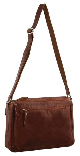Milleni Ladies Nappa Leather Cross-Body Bag - Chestnut