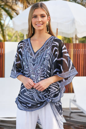 Nadia Balloon Tunic in Zebra Palace