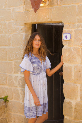 Odessa Embroidered Dress in Mykonos