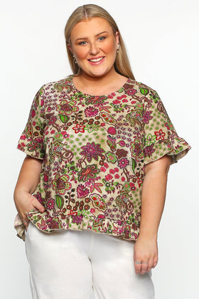Olive Frill Top in Sangria