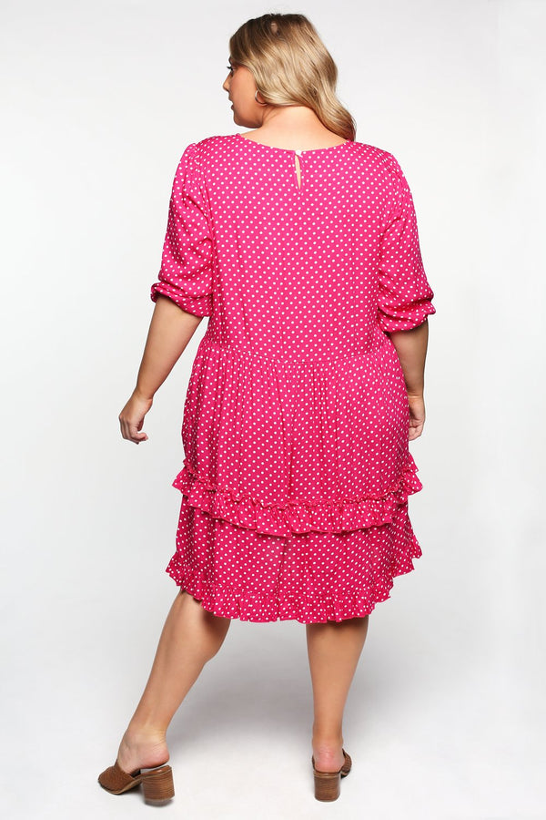 Olivia Shift Dress in Spotted Pink