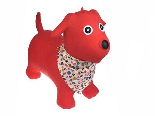 Bouncy rider red dog w scarf