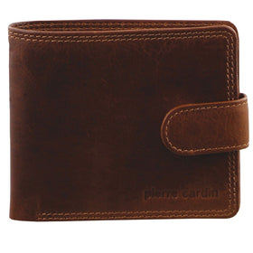 Pierre Cardin Rustic Leather Mens Wallet - Cognac