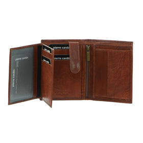 Pierre Cardin Rustic Leather Tri-Fold Mens Wallet - Chestnut
