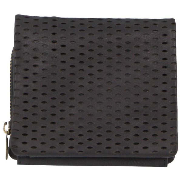Pierre Cardin Perforated Leather Womens Tri-Fold Wallet - Black