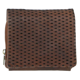 Pierre Cardin Perforated Leather Womens Tri-Fold Wallet - Chocolate