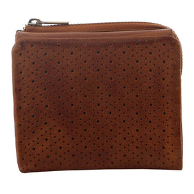 Pierre Cardin Perforated Leather Womens Tri-Fold Wallet - Cognac