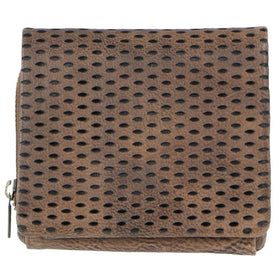 Pierre Cardin Perforated Leather Womens Tri-Fold Wallet - Mushroom