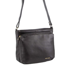 Pierre Cardin Genuine Leather Cross Body Bag - Black
