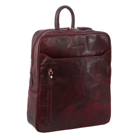 Pierre Cardin Rustic Leather Backpack - Cherry
