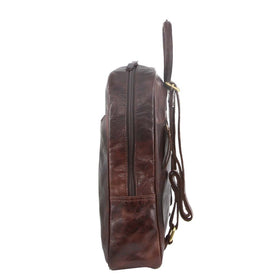 Pierre Cardin Rustic Leather Backpack - Chocolate