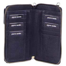 Pierre Cardin Rustic Leather Mobile Phone Wallet - Midnight