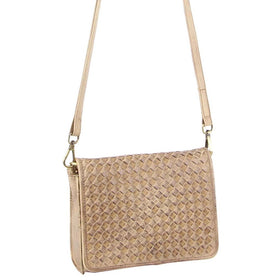 Pierre Cardin Woven Leather Cross Body Bag - Latte