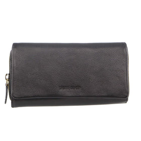 Pierre Cardin Rustic Leather Ladies Wallet - Black