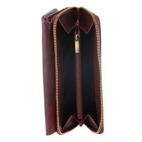 Pierre Cardin Rustic Leather Ladies Wallet - Cherry