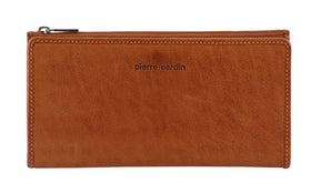 Pierre Cardin Genuine Ladies Leather Bi-Fold Wallet - Cognac