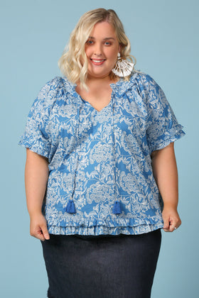 Panama Shift Top in Ocean Wattle