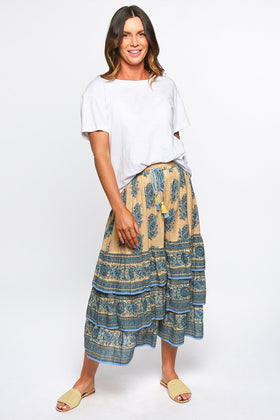 Perla Tiered Skirt in Tuscan Sun