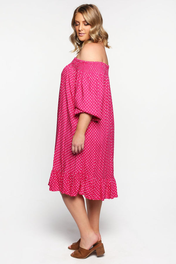 Poppy Dress in Spotted Pink