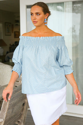 Poppy Peasant Top in Gelato Blue