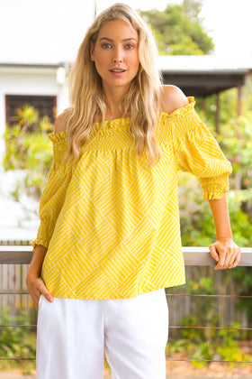 Poppy Peasant Top in Gelato Yellow
