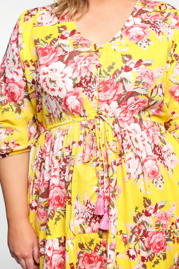 Primrose Button Down Dress in Citrus Bloom
