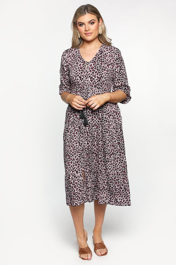 Primrose Button Down Dress in Lioness Pink