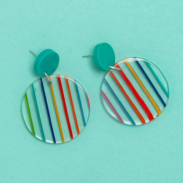 Rainbow Bright Striped Round Earrings (3 Colours Avail)