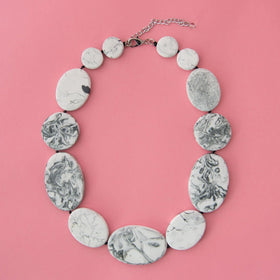 Grey Marble Short Artisan Necklace