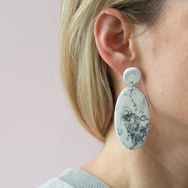 Grey Marble Artisan Drop Earrings